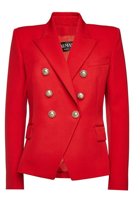 Balmain - Virgin Wool Blazer with Embossed Buttons - red
