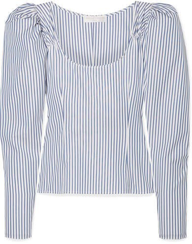 Ariana Ruched Striped Cotton-poplin Top - Blue