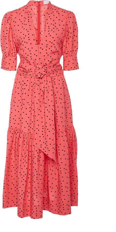 Holliday Polka-Dot Linen-Blend Midi Dress