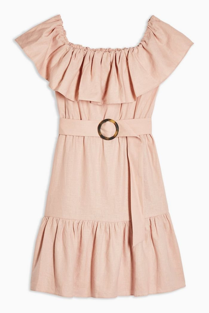 TALL Ruffle Bardot Mini Dress   Topshop pink