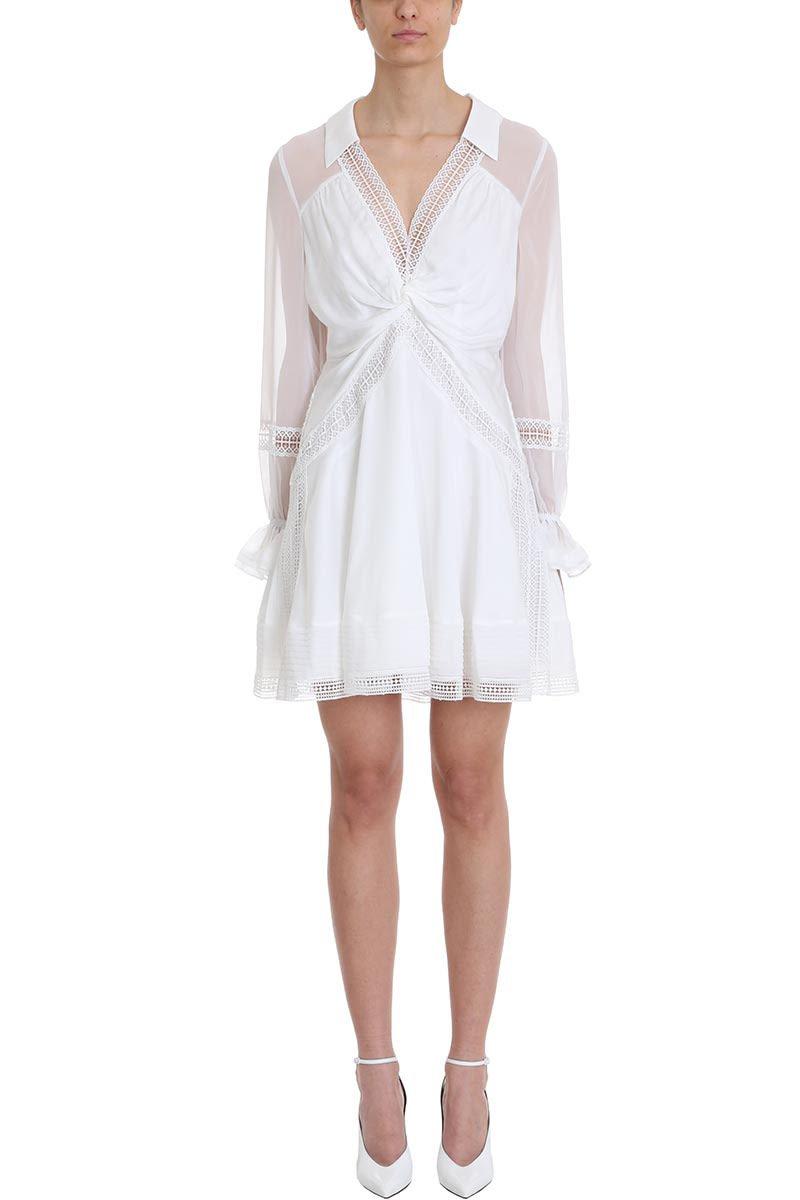 self-portrait Twist Front Ivory Mini Dress
