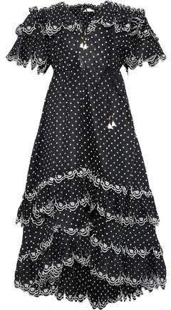 Jaya Scallop Off-the-shoulder Swiss-dot Linen Midi Dress