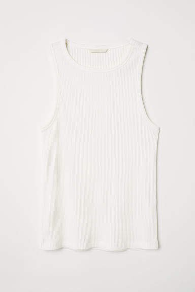 Ribbed Jersey Tank Top - White