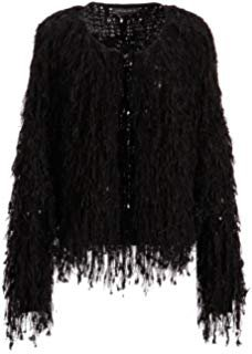 Womens Black Fringe Shaggy Faux Fur Open Jacket Cardigan at Amazon Women's Coats Shop