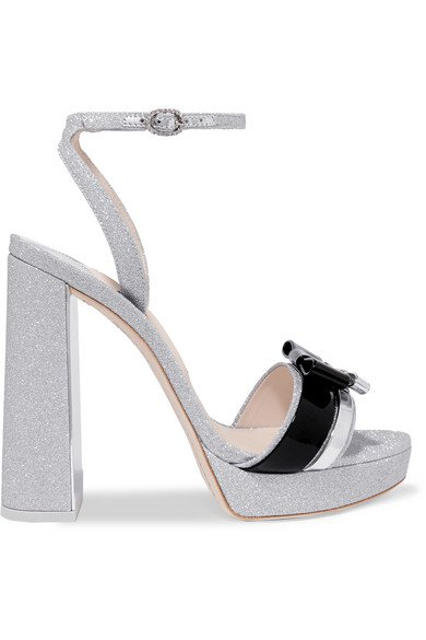 Sophia Webster | Andie Bow leather-trimmed glittered-leather sandals | NET-A-PORTER.COM