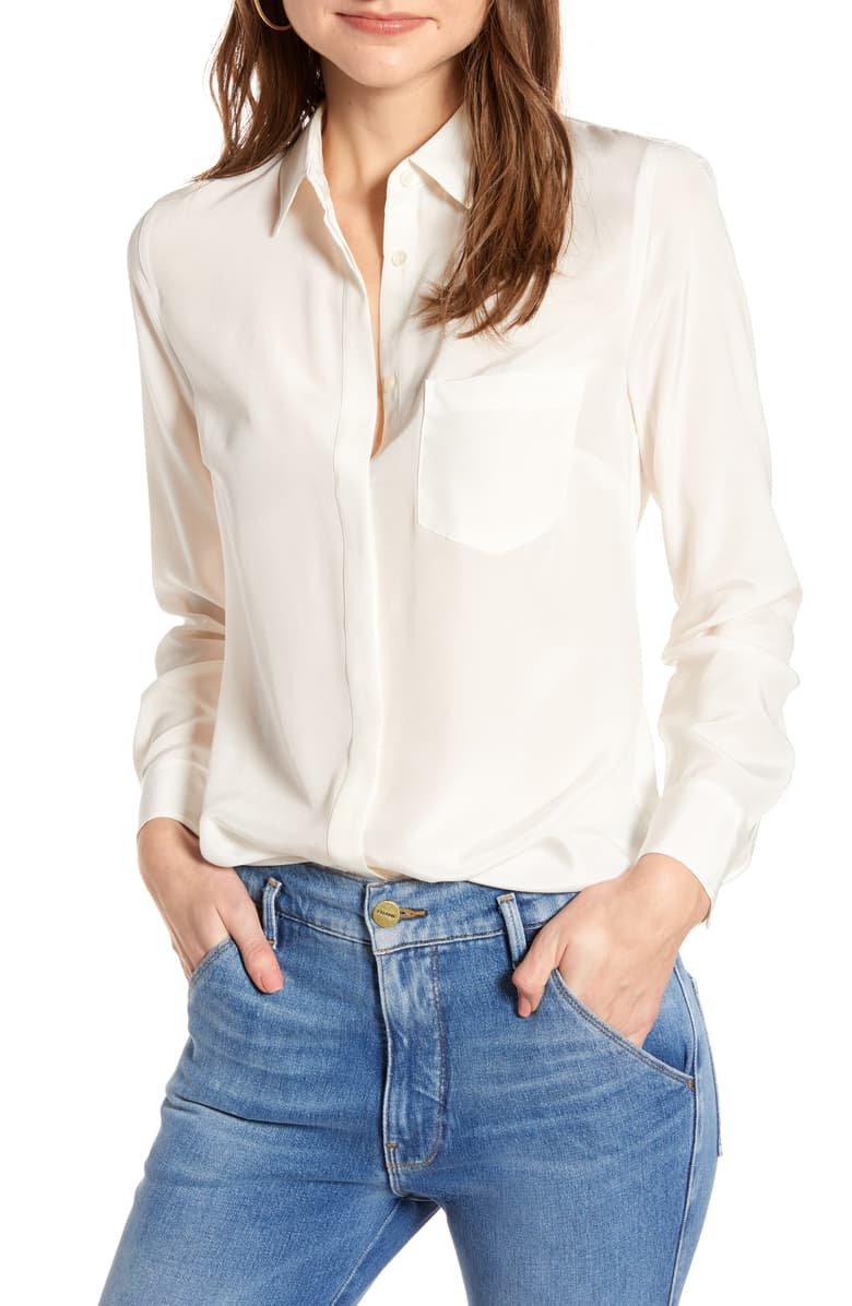 J.Crew Silk Button-Up Shirt (Regular & Plus Size)   Nordstrom