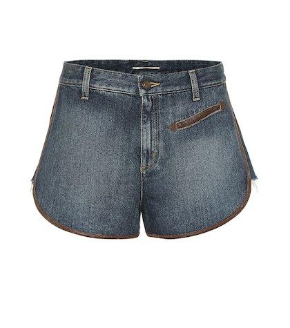 Leather-trimmed denim shorts