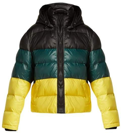 Pswl - Striped Quilted Down Filled Jacket - Womens - Black Yellow