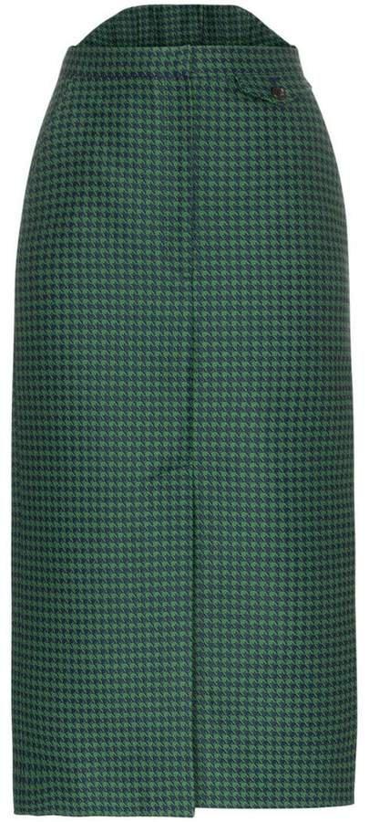 PushBUTTON high-waisted check print cotton-blend skirt