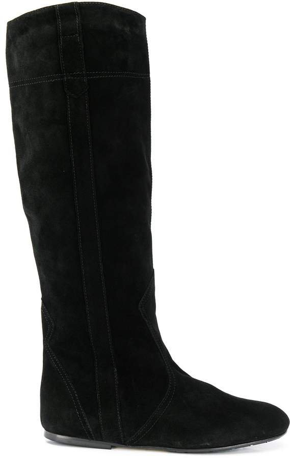 contrast stitching knee-high boots