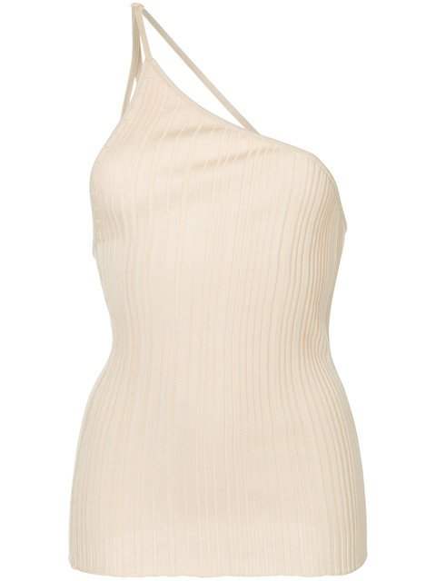 Jacquemus Beige cotton one-shoulder pleated top