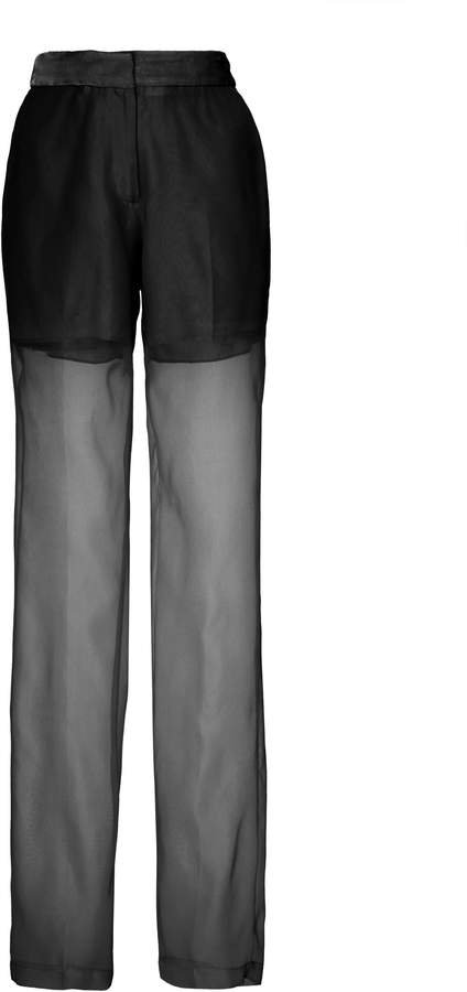 Sheer Pleated Silk Trousers