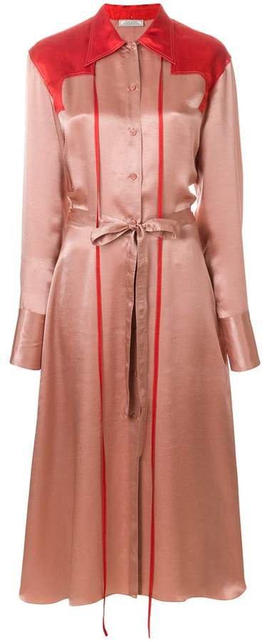 colour-block midi shirt dress