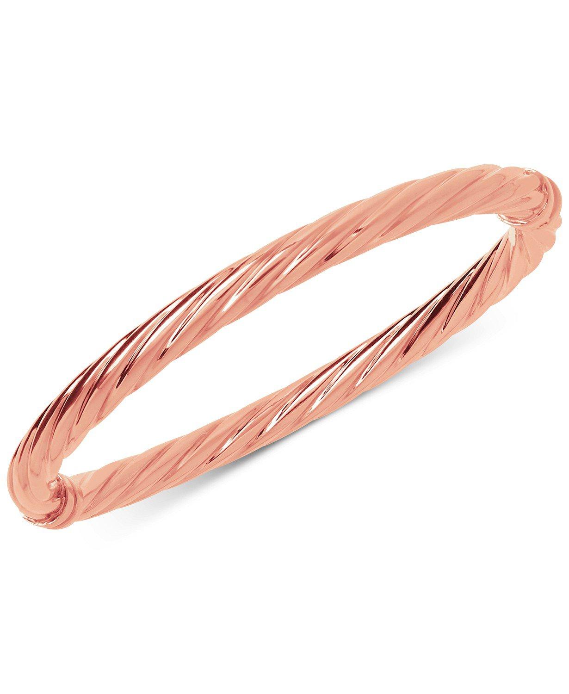 14k Rose Gold Italian Gold Twist Hinge Bangle Bracelet