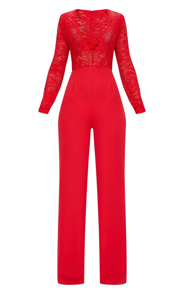 Red Lace Long Sleeve Plunge Jumpsuit | PrettyLittleThing USA