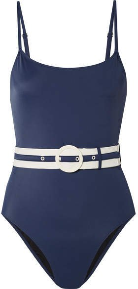 The Nina Belted Swimsuit - Navy