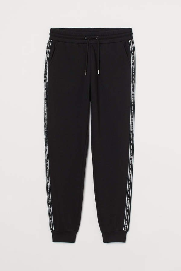 Sweatpants with Side Stripes - Black