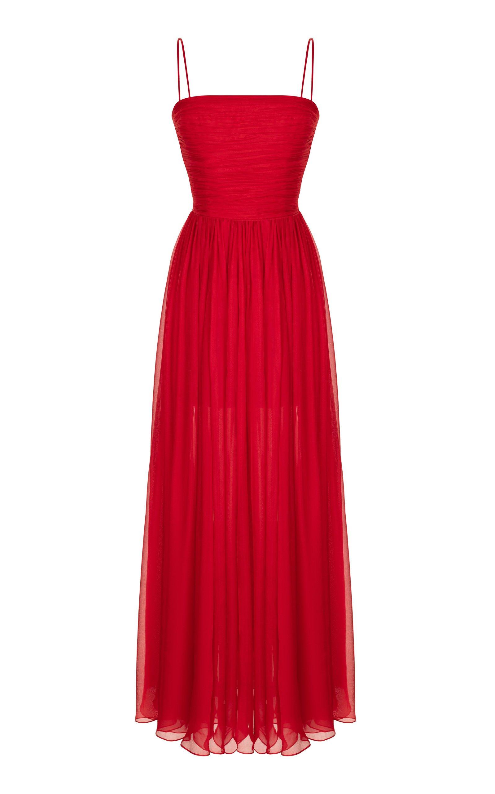 Rasario Draped Silk-Chiffon Gown