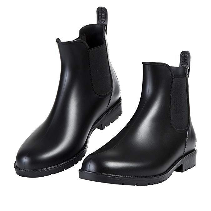 Amazon.com | Asgard Women's Short Rain Boots Waterproof Slip On Ankel Chelsea Booties | Rain Footwear