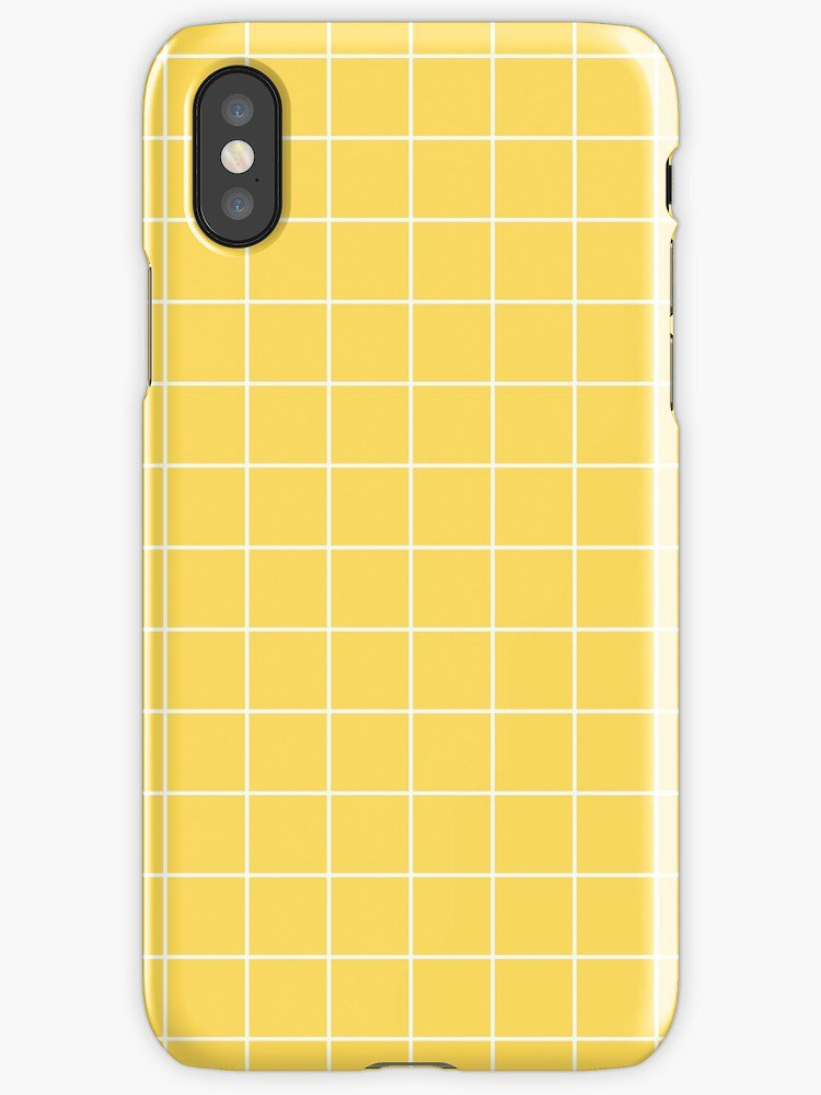 """White Grid On Mustard Yellow"" iPhone Cases & Covers by rewstudio 