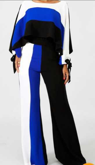 Black Blue and White Jumpsuit