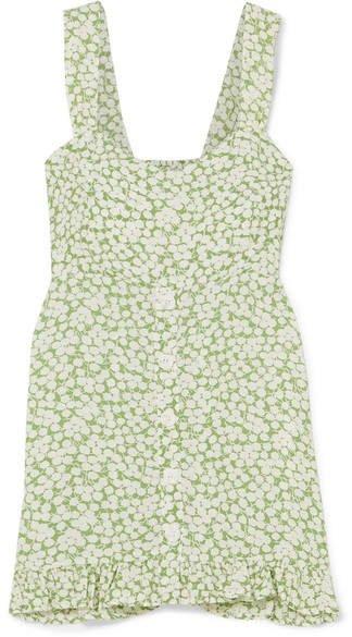 Lou Lou Ruffled Floral-print Crepe Mini Dress - Light green