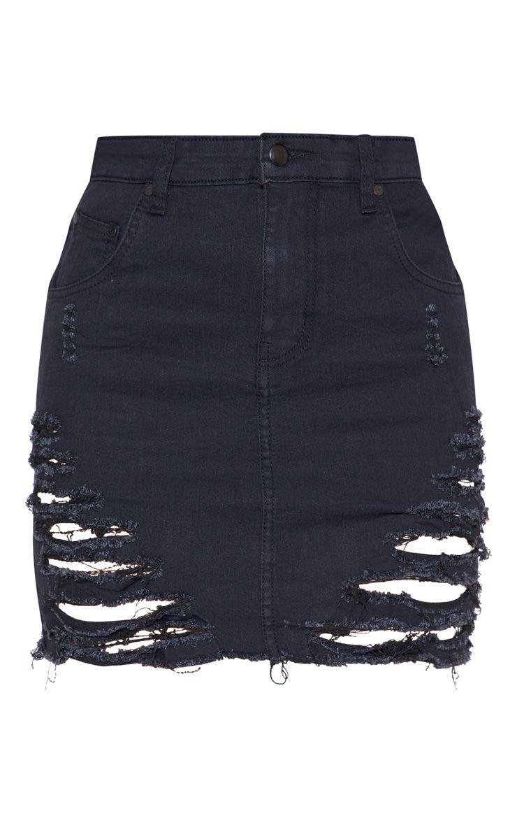 Black Super Shred Denim Mini Skirt   Denim   PrettyLittleThing