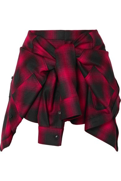 Alexander Wang | Tie-front checked wool-flannel shorts | NET-A-PORTER.COM