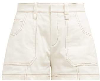 Contrast Stitching Cotton Shorts - Womens - Ivory
