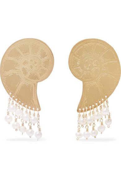 Mercedes Salazar | Gold-tone faux pearl earrings | NET-A-PORTER.COM