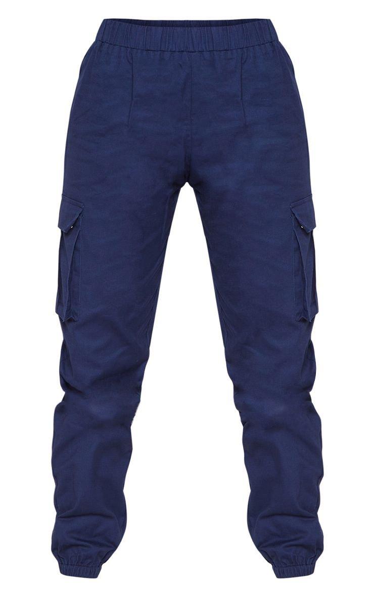 Petite Navy Pocket Detail Cargo Pants | PrettyLittleThing USA