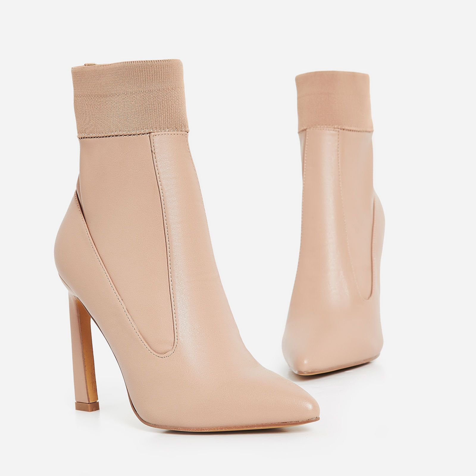 Elaina Flared Stiletto Heel Ankle Sock Boot In Nude Faux Leather | EGO