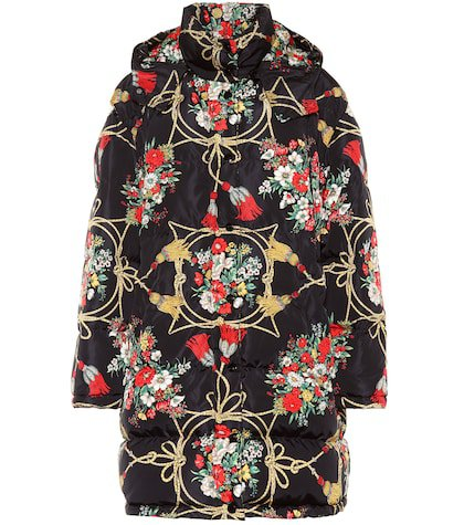 Printed down cape coat