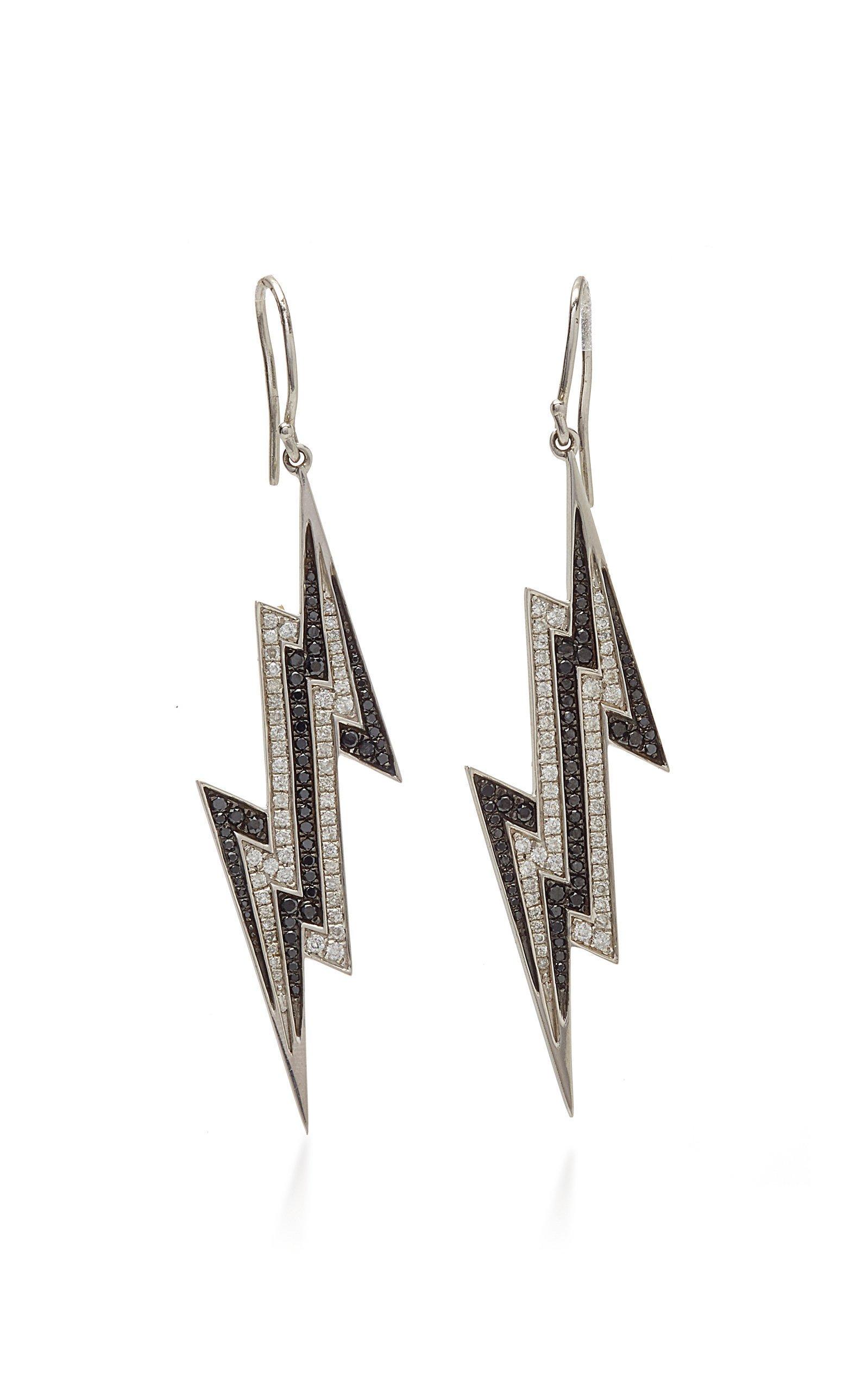 Lynn Ban Jewelry PAVE LIGHTNING BOLT EARRINGS