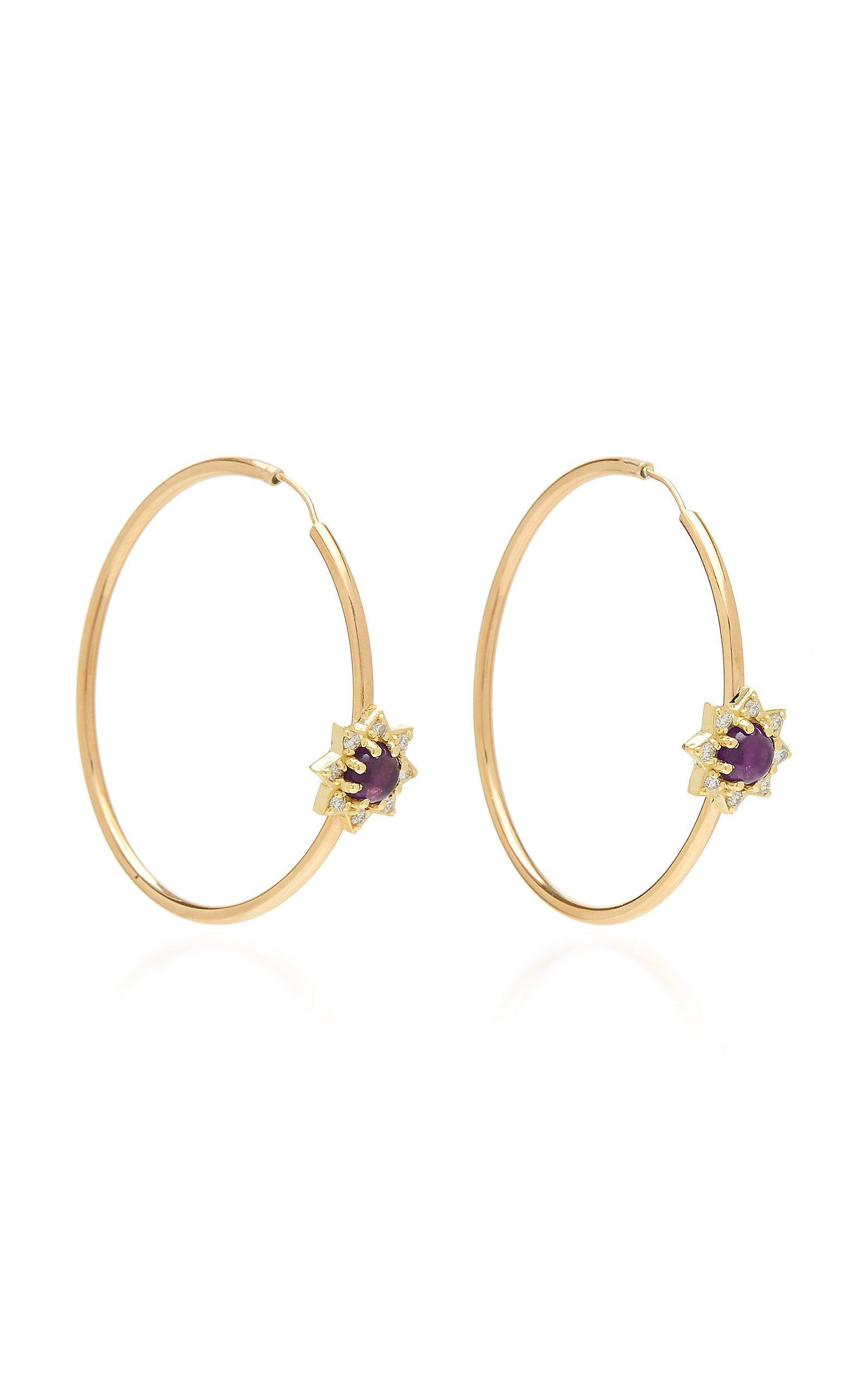 M.Spalten 18K Gold Amethyst And Diamond Earrings