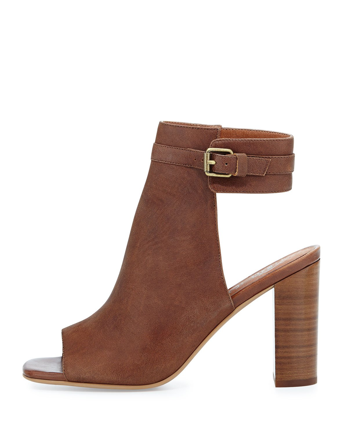 Jeffrey Campbell Brown Canal Leather Peep Toe Booties