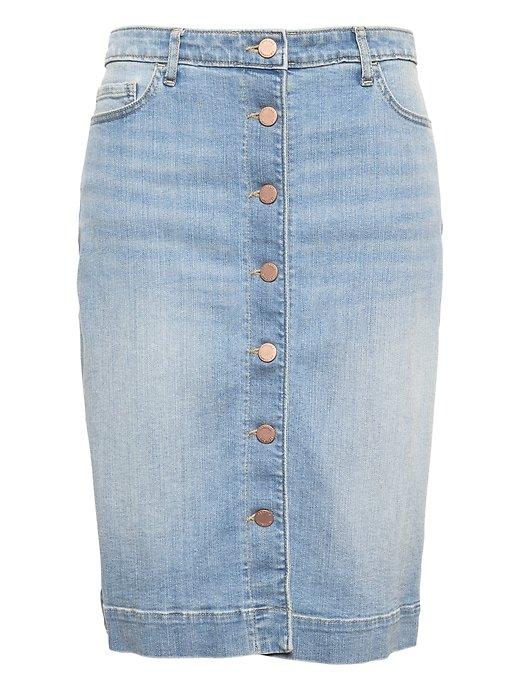Button-Front Denim Skirt | Banana Republic Blue