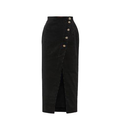 Cotton-blend corduroy midi skirt