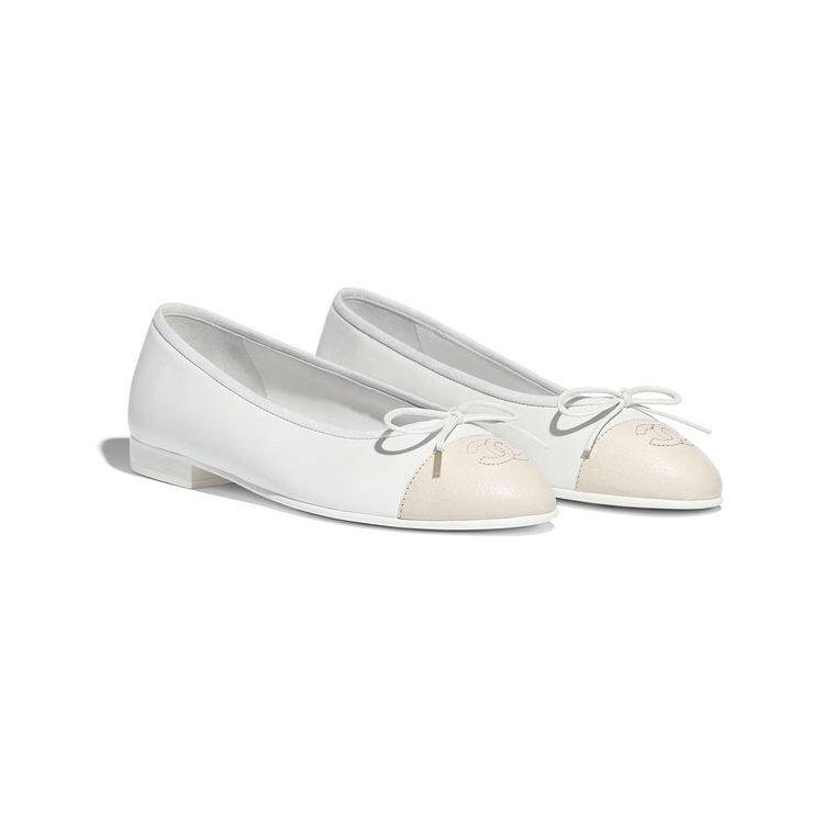 Lambskin & Goatskin White & Ivory Ballerina   CHANEL