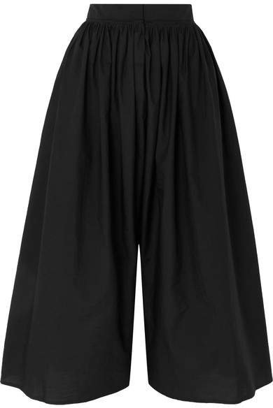 Cotton-blend Culottes - Black