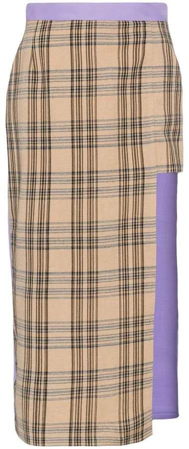 asymmetric check midi skirt