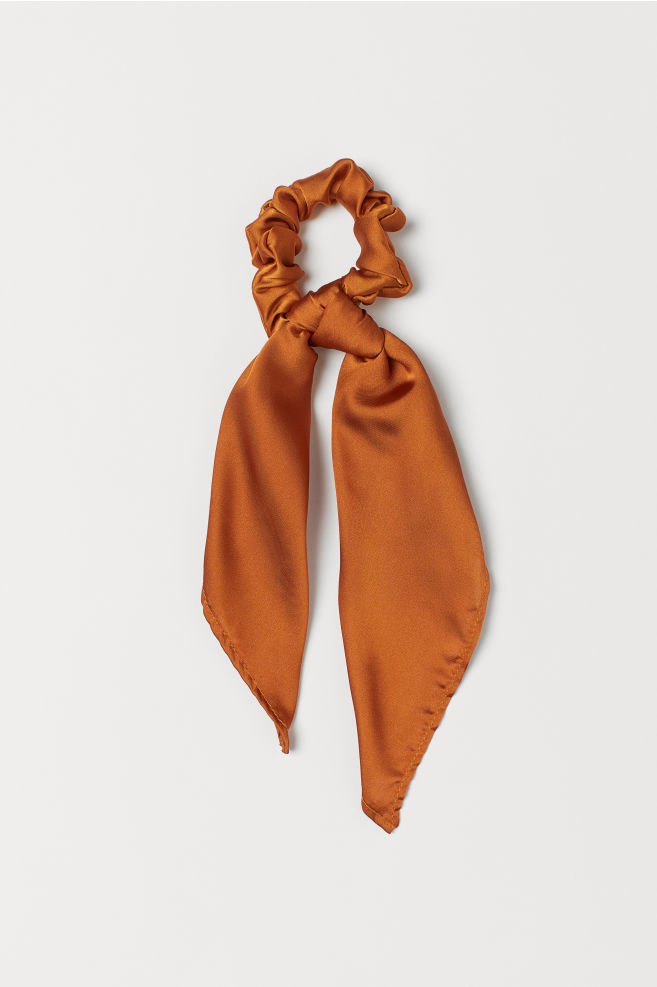 Scrunchie with Scarf Detail - Dark orange - Ladies | H&M US