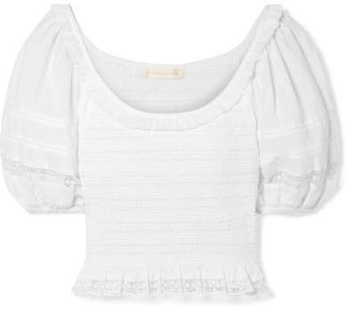Molly Cropped Crochet-trimmed Shirred Cotton-voile Top - White