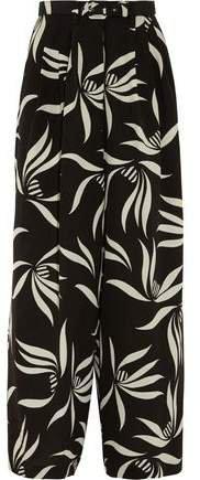 Belted Printed Silk-crepe Wide-leg Pants
