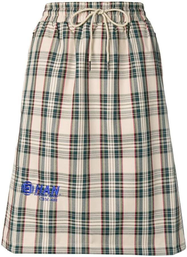 tartan logo midi skirt