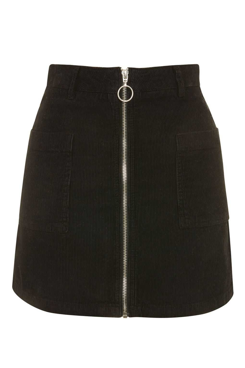 black a line zip skirt
