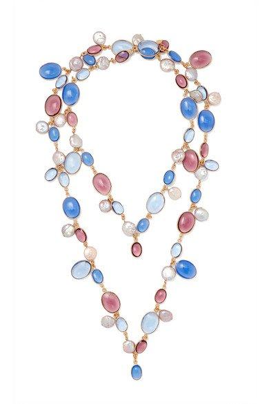 Loulou de la Falaise | Gold-plated, glass and pearl necklace | NET-A-PORTER.COM