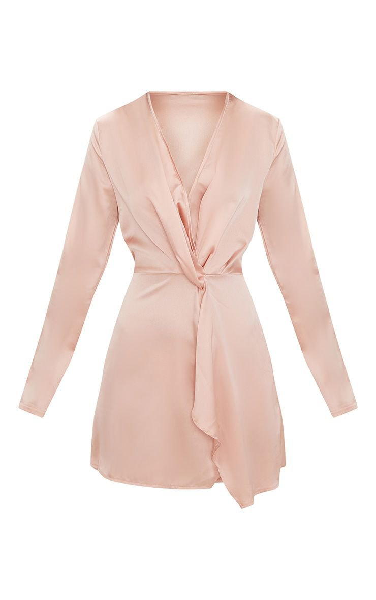 Nude Satin Long Sleeve Wrap Dress | Dresses | PrettyLittleThing USA