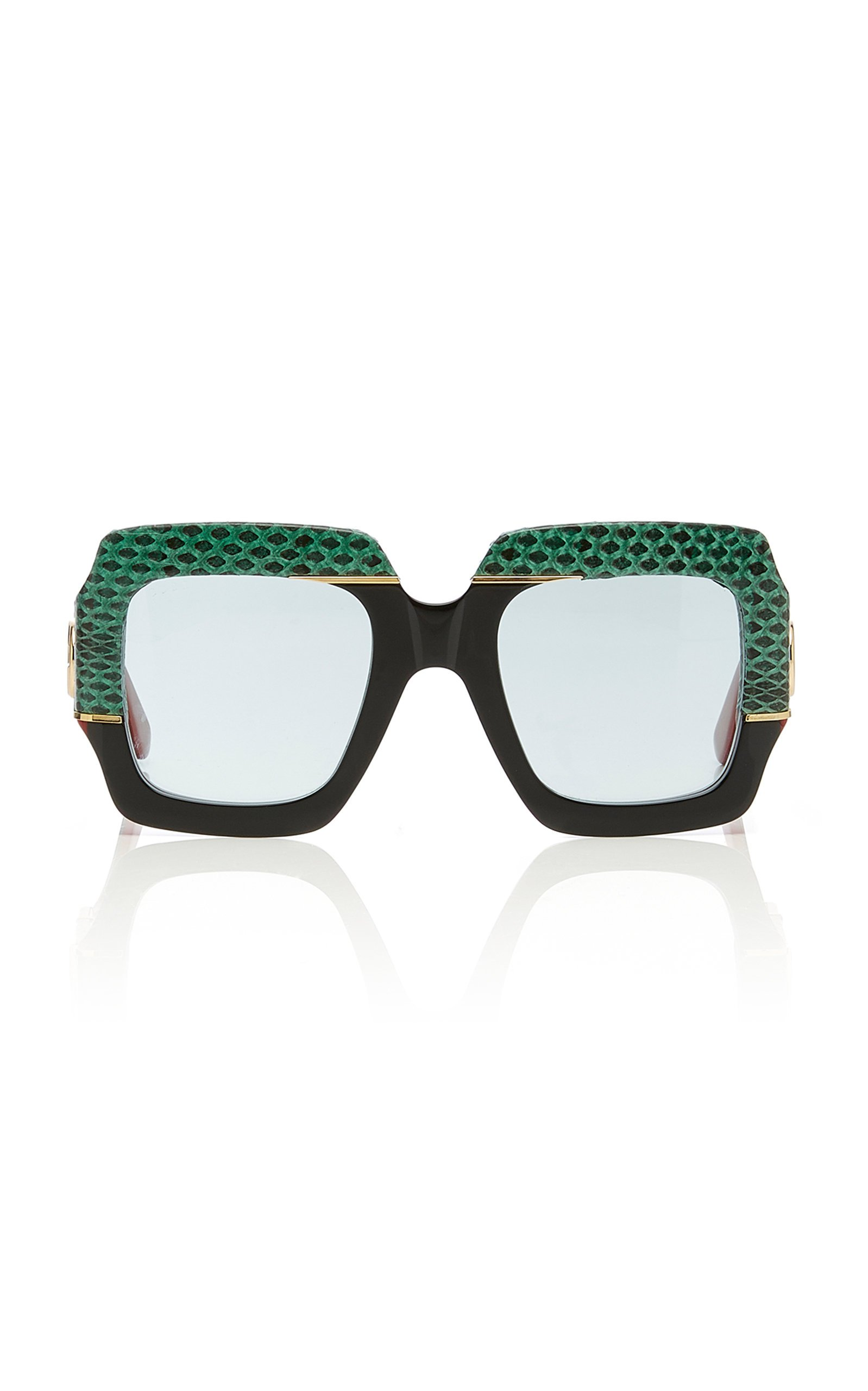 Gucci Sunglasses Square-Frame Snakeskin and Acetate Sunglasses