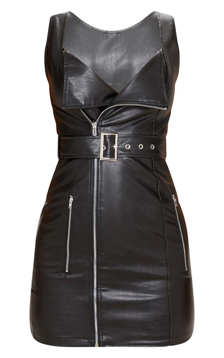 Black Pu Zip Front Shift Dress | Dresses | PrettyLittleThing USA